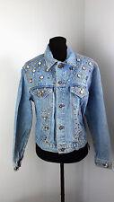 Gazoz Denim Jeans Jacket Size Small Embellished Retro Rhinestone Blue Longsleeve