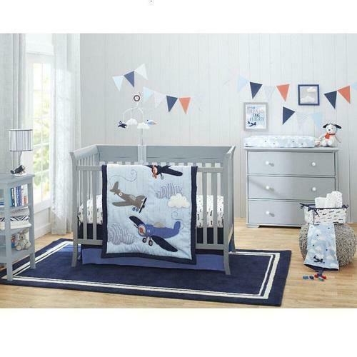 Carter S Take Flight Airplane Cloud Star 4 Pcs Boy Nursery Crib Bedding Set Blue For Sale Online Ebay