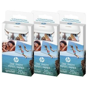 60 sheets hp sprocket zink sticky backed photo paper 2 x3 for