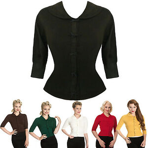 Mujer-Sexy-Corto-Lazo-Vintage-1950s-Retro-Verano-Top-Cardigan-GB