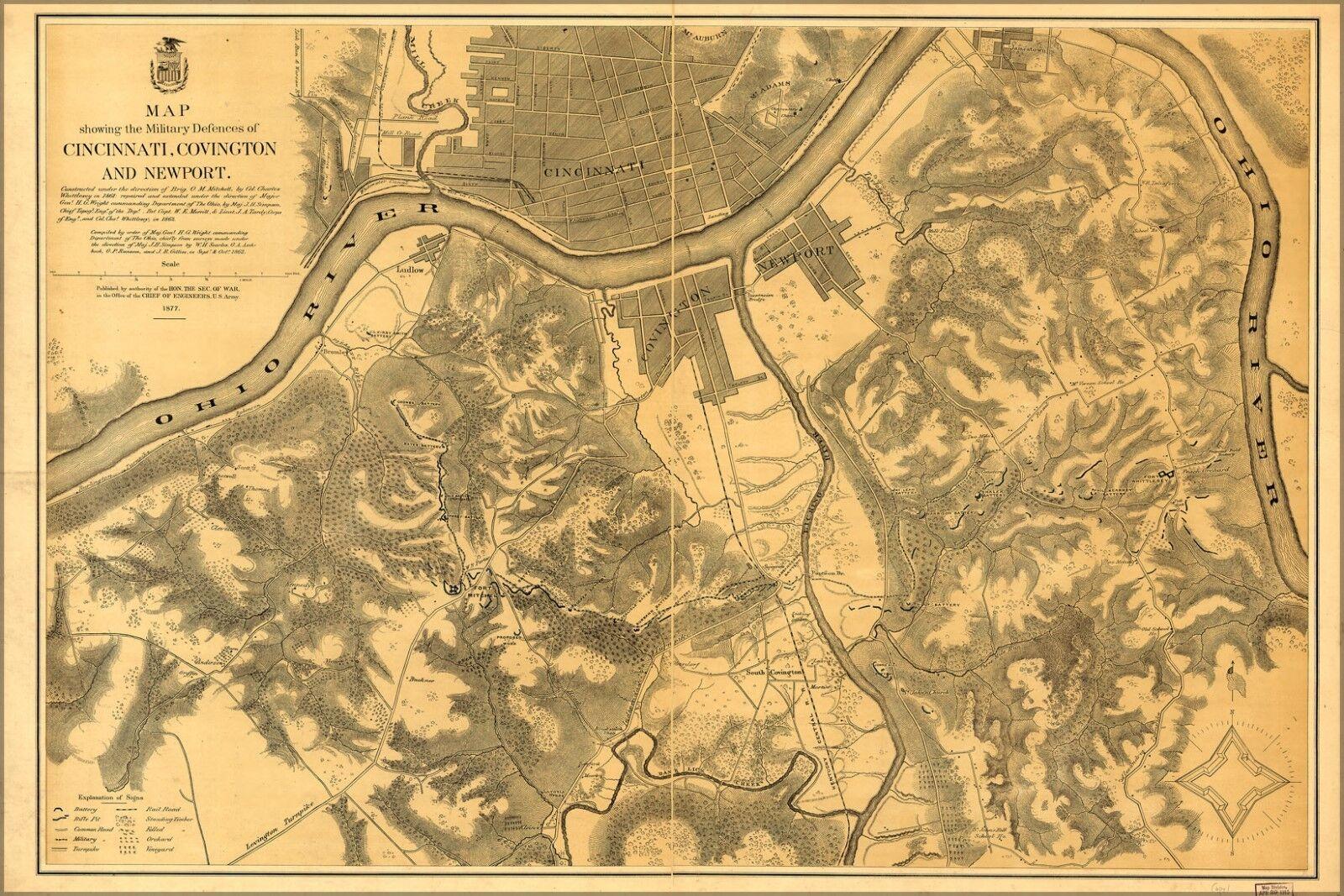 Affiche, Plusieurs Tailles; Carte Défenses de Cincinnati Newport Covington Newport Cincinnati 1877 323346