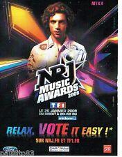 PUBLICITE ADVERTISING 116  2008  Mika  concert Music Awards & radio NRJ