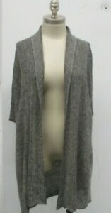 Eileen-Fisher-Duster-Organic-Linen-Cardigan-Sweater-Open-Front-Small