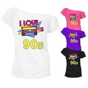 Femme Je Love La Musique 90 S T Shirt Imprimé Top Off épaule Années 80 Retro Tee 7519-afficher Le Titre D'origine Bon Pour AntipyréTique Et Sucette De La Gorge