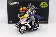 Batman Classic TV-Series Batcycle with Batman and Robin 1:12 HotWheels Elite