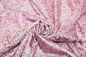 Vintage-Saree-Indian-Art-Silk-Flower-Printed-Craft-Sari-5-Yard-Fabric-Beige-5yd