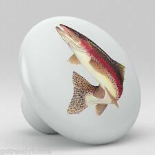 Rainbow TROUT Fish Ceramic Knobs Pulls Kitchen Drawer Cabinet Vanity Closet 551