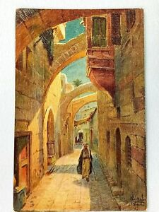 Vintage Postcard 1910's Oilette Jerusalem Via Dolorosa Way of Sorrows