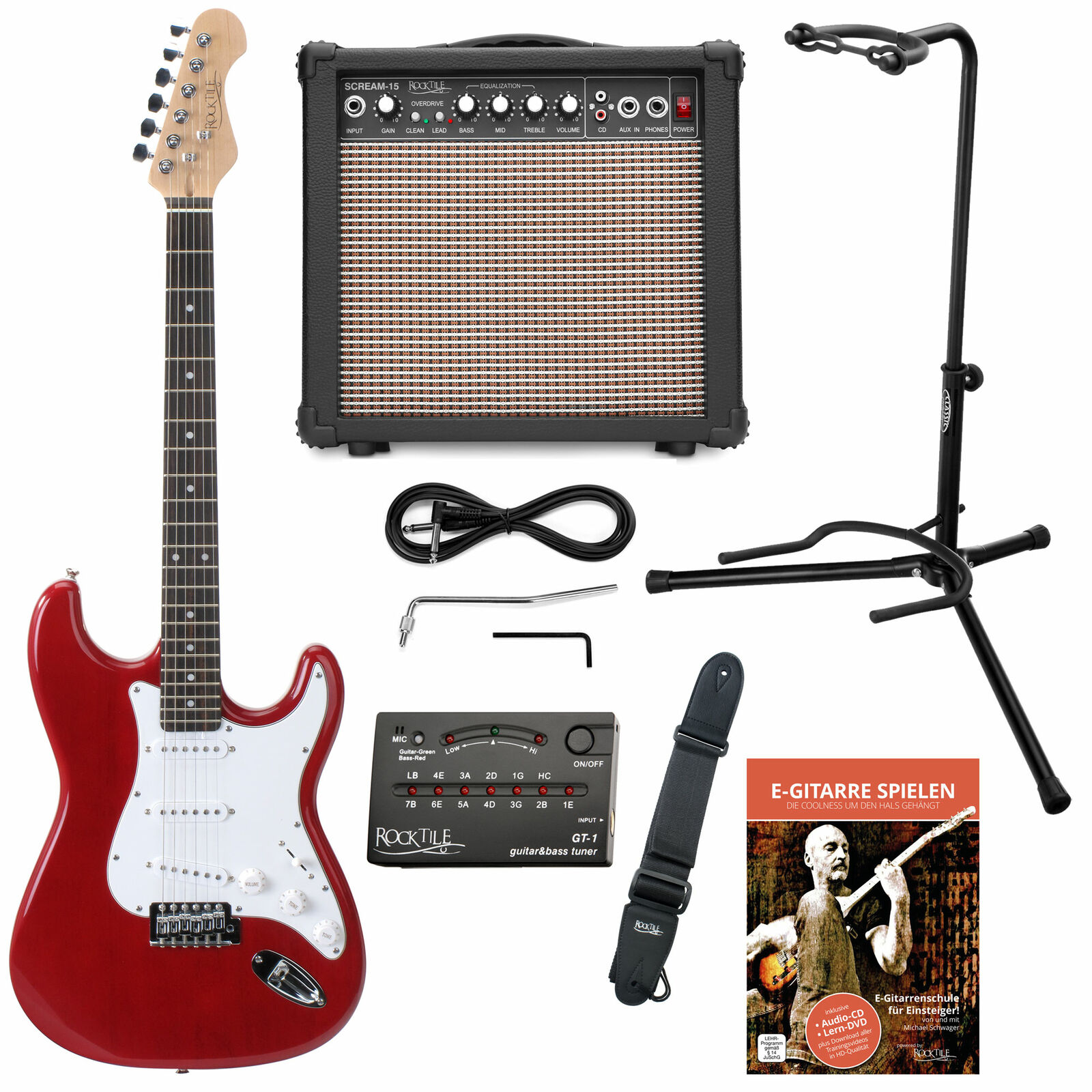 Electric Guitar Beginner Set Amplifier Combo Cable Support Stand Strap Tuner rot
