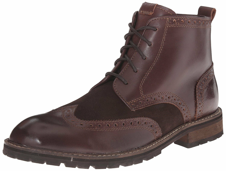 Florsheim Men's Brannon Wingtip Boot, Brown Smooth Brown Suede, 12 D US