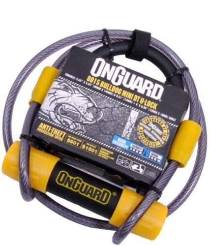 "OnGuard Bulldog Mini DT 8015 Bike U-lock /& 4/' Cable 3.5x5.5/"" Hardened 2X Locking"