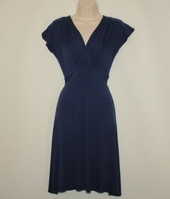 Vintage Variegated Blue Fabric ATMOSPHER Long Casual Summer Sleeveless Dress Size 14 42