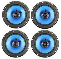 4) Q Power 6.5 300 Watt 2-way Blue Car Audio Stereo Coaxial Speakers | Qp650