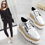 Ladies-Square-Toe-Oxford-High-Wedge-Platform-Lace-Up-Creepers-Leather-Shoes-Size thumbnail 4