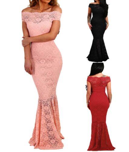 elegante abito cerimonia da donna in pizzo stile sirena vestito lungo damigella