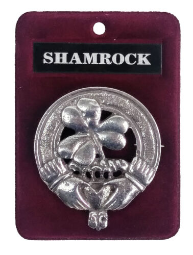 Irish Shamrock Cap Badge//Brooch Made In Scotland