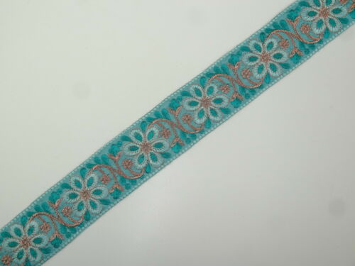 "T303 1yd Floral Embroidered Trim 2.10/"" wide Woven Border Sew Jacquard Ribbon"