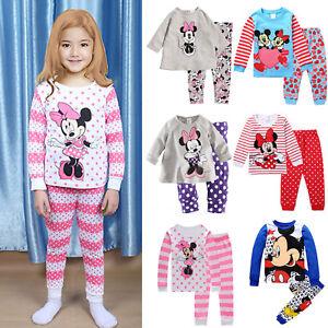Jungen Mädchen Schlafanzug Nachtwäsche Kinder 2tlg T-shirt Tops+Hosen Pyjama Set