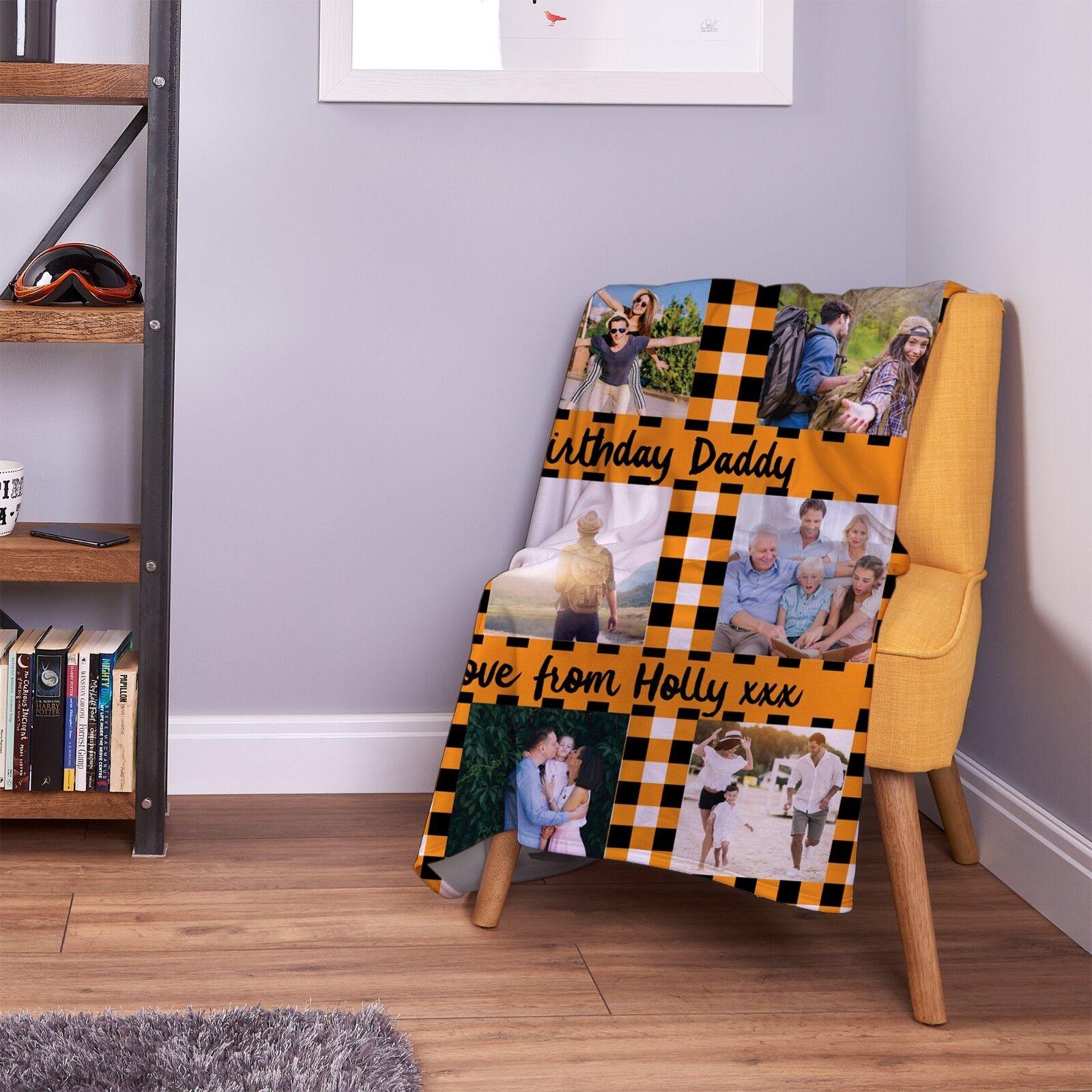 Large Warm Sofa Fleece Personalised orange Gingham Design Photo Blanket