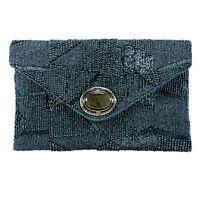 Mary Frances Blue Shimmer Denim Dark Clutch Bead New Handbag Purse Bag New