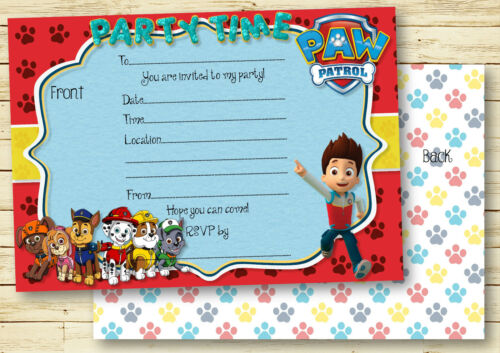 1-10 PATROL RESCUE DOGS INSPIRED BIRTHDAY PARTY INVITATIONS OR THANK YOU CARDS