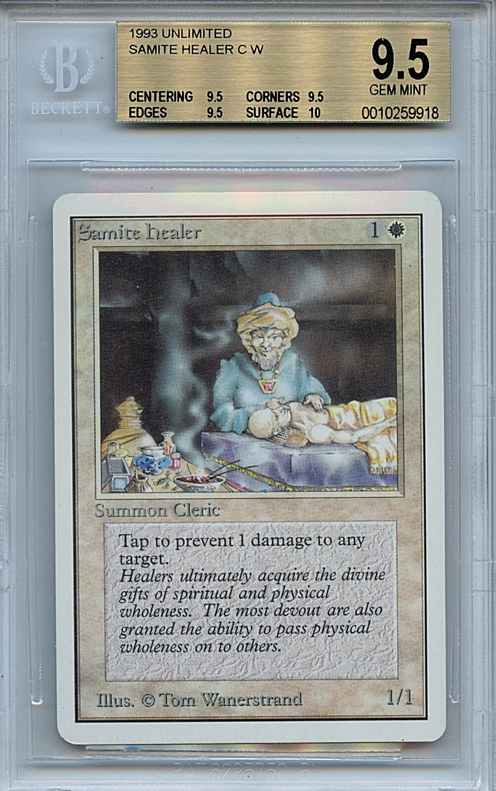 MTG Unlimited Samite Healer BGS BGS BGS 9.5 Gem Mint Card Magic the Gathering WOTC9918 62188e