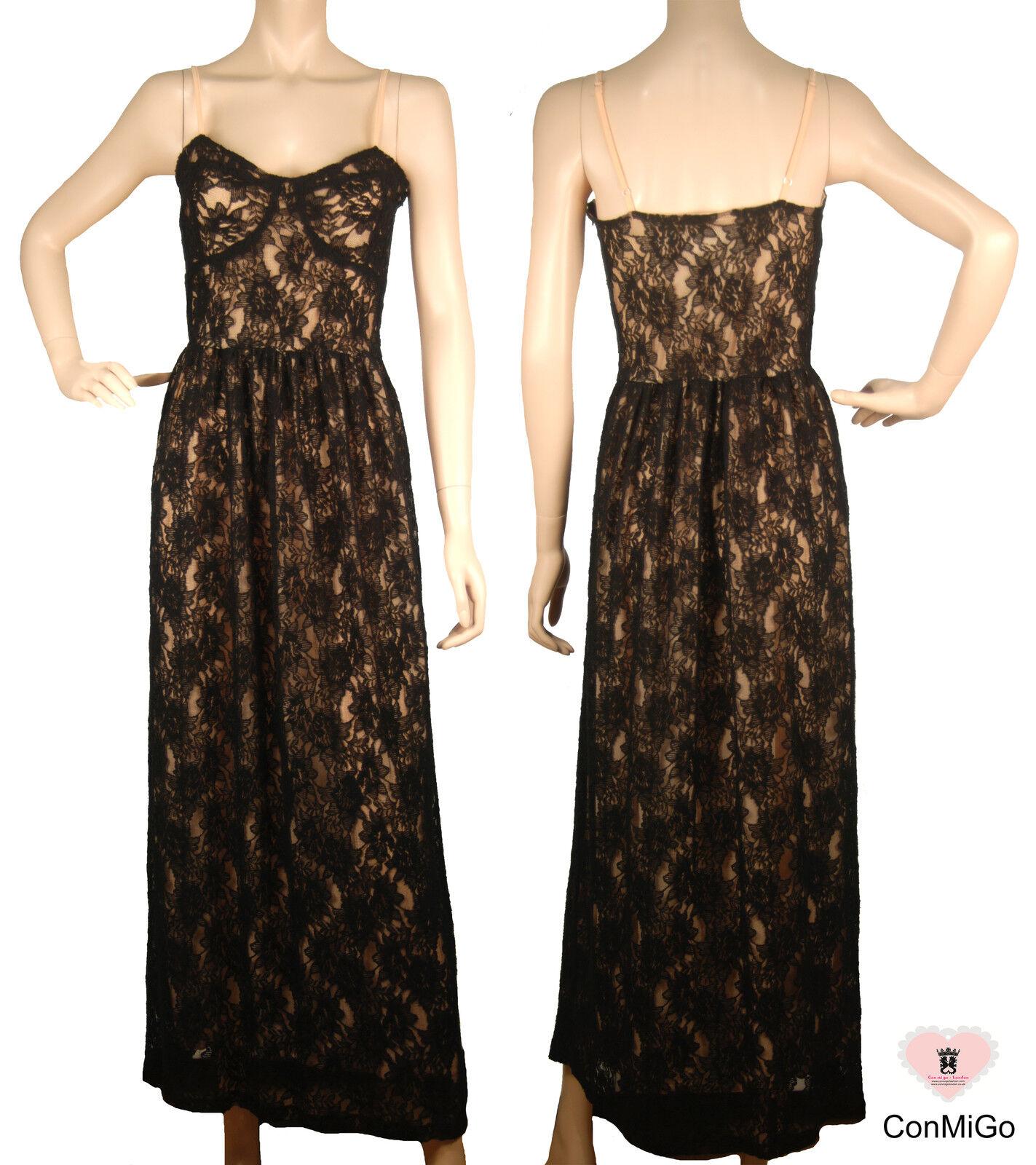 Wedding Party Dress - ConMiGo Striped Lace Maxi Dress - Blak - S M Size