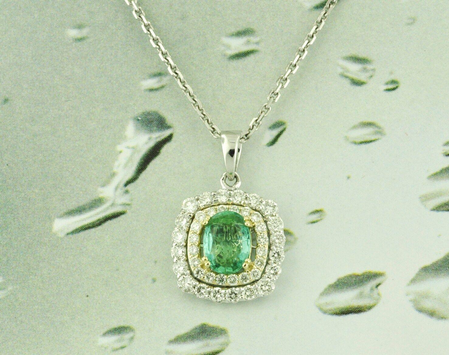 1.47 ct 18k 2 Tone Colombian Emerald & Natural Diamond Pendant halo design