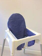 """Sitzkissen """"Punkte blau"""" für Ikea Antilope Hochstuhl, u.v.m., 2-seitig"""