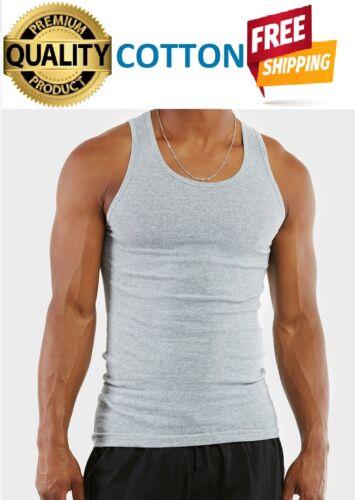 12 Pack Men/'s Gray Tank Top Cotton Sleeveless A-Shirt Workout Ribbed Undershirt