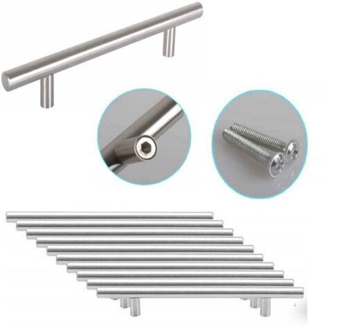 T Bar Solid Pull Handles Brushed Chrome Drawer Kitchen Cabinet Wardrobe Door