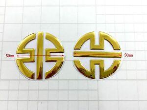Goldwing Raised 3D Chrome Gold Decal Emblem Tank Fairing Sticker GL1800 Bling