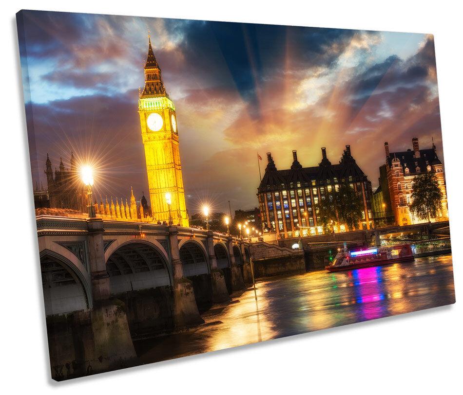 London Stadt Big Ben SINGLE CANVAS Wand Kunst Bild Drucken