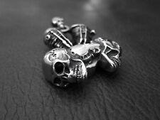 Heavy Silver SKULL V twin Engine Pendant Necklace for Harley Davidson Biker 66