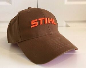 Stihl Outfitters Brown All Fabric Hat Cap w Thick Orange Embroidered ... 5f13943f765a