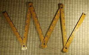 Wooden Folding Ruler / Inches, CM, Shaku / Japanese Carpentry / Vintage