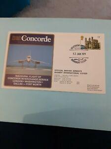 COVER BRITISH AIRWAYS CONCORDE 1ST INTERCHANGE FLIGHT LONDON DALLAS 1979