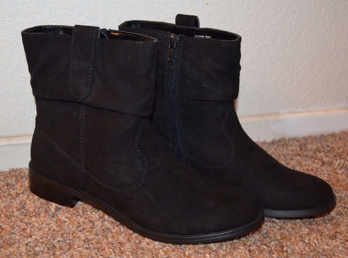 NEW  STYLE&CO Women BLACK SUEDE Low Calf Boots   Size 6.5, 7, 7.5   1  Heel