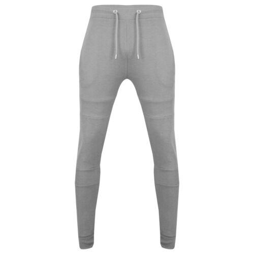 New Men/'s Pique Slim Fit Tapered Zip Biker Joggers Bottom Cuffed Trouser UK S-XL