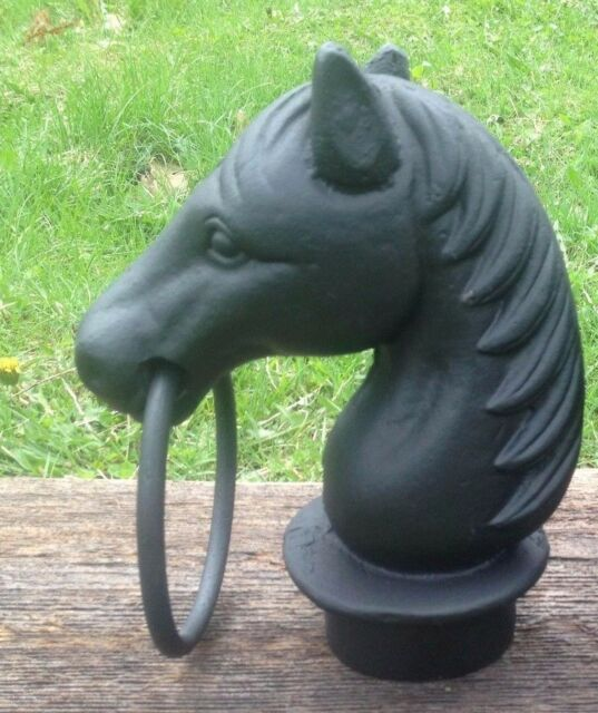 """2x2/"""" base NIB PAIR 9.5/"""" Cast Iron Horse Head w// Ring Topper for Hitching Post"""