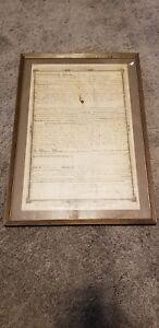 Original-Framed-Antique-1851-Indenture-Land-Deed-STATE-OF-INDIANA-Pre-Civil-War