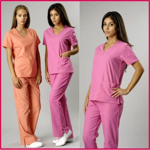 Medical Nursing Scrub Set 7-Pocket, V- Neck, Flare Leg