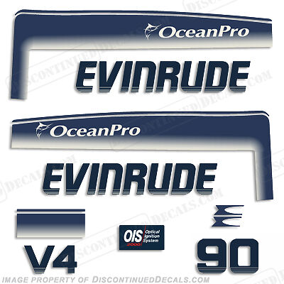 Evinrude 90hp V4 OceanPro Outboard Decal Kit - 1993 1994 1995 1996 1997 1998