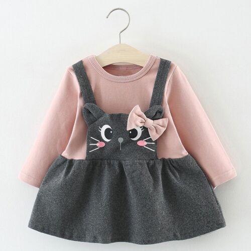 Toddler Kids Baby Girls Long Sleeve Cute Cartoon Cat Bow Party Princess Dress