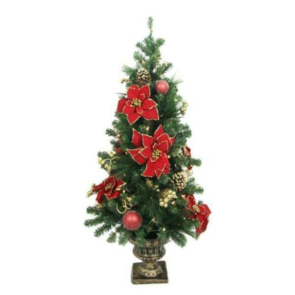 Potted Christmas Trees For Sale: Home Accents Holiday 4 Ft. Poinsettia Potted Artificial