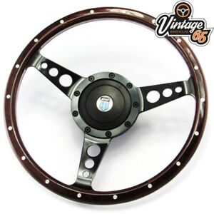 "Vintage Warehouse Classic Light Wood Rim Riveted semi Dished 14/"" steering wheel"