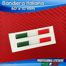 2 Adesivi Resinati Stickers 3D Flag Bandiera ITALIA 6 x 1 cm