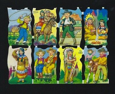 Lot of 8 vtg SCRAPs Dressed Animals COWBOY + COWGIRL + NATIVE INDIAN Chief MLP