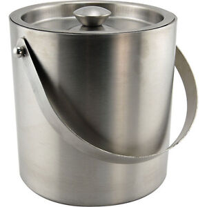 stainless steel double walled insulated ice bucket 3 qt bar