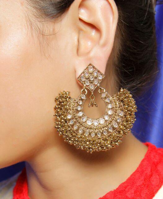 Vintage Ethnic Jewelry Gold Tone Indian Crystal Earrings JhumkaJhumki CE-605